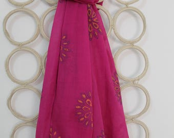Bright Pink  Hand block printed stole