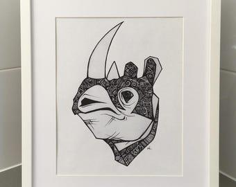 Rhinoceros Print, African Animals, Wall Print, Wall Decor, A4 Print