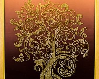 Bead-embroidered picture Wealth Tree golden decor gift beadwork embroidery beads art elegant interior design decoration