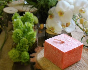 Natural palm wax candle, scented candle, scented strawberry, red candle