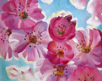 Crab Apple Tree Blossom Bykova Original Oil Painting New Bloom Spring Gift Present Ready to Hang Birthday Wedding Mother day for Her Flowers