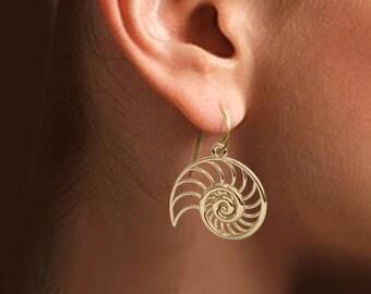 2 Nautilus Earrings  (18k Gold Plate, Rhodium Plate)