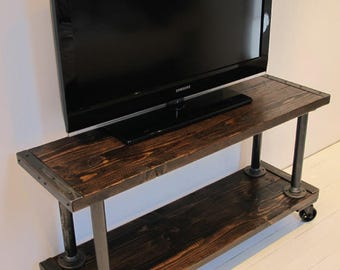 Modern industrial Media Console, TV Stand, Reclaimed Wood Industrial Media Console
