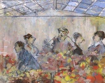 Original painting, oil on cardboard, scene of market, Paris, business indoor