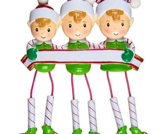 Dangling Elf Family of 3 Unique Personalized Christmas Ornament + FREE SHIPPING! (Best Friends, CoWorkers, Sisters)