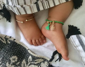 Boho Baby Anklet With Bells, Personalized Gift, Jewelry, French Tassles, Baby Girl Gift, Baby Shower Gift