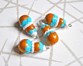 4 handmade polymer clay blue french puff pastry charms, size 20x10mm - miniature religieuse, handmade in france