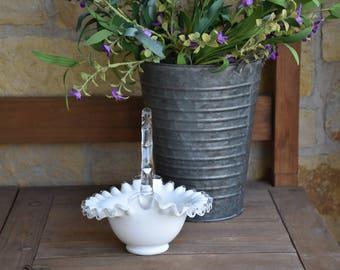 Vintage Fenton, Silver Crest Milk Glass Basket