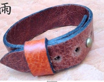 Rustic cuff bracelet, made of soft brown leather