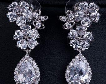 Crystal flower bridal drop earrings