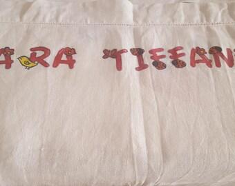 Linen towel hand painted