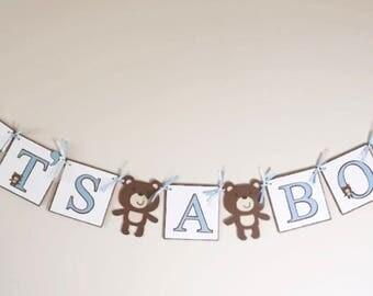 Teddy Bear Baby Shower Banner, Teddy Bear Party Banner, Its A Boy Banner