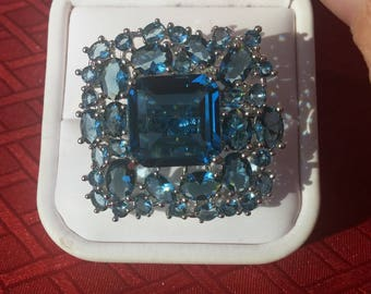 SALE London Blue Topaz Statement Ring, Free Shipping.