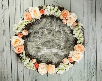 Digital Backdrop Newborn Nest Peach Flowers