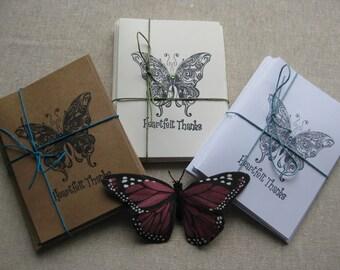 6 Handmade Butterfly blank thank you card set