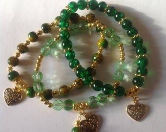 Green bracelets 3  stacking bracelets beaded bracelets handmade bracelets matching bracelets