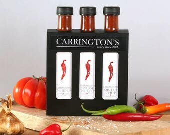 Chilli hot sauce selection gift box mild to hot 250ml, condiment set, chilli lover gift