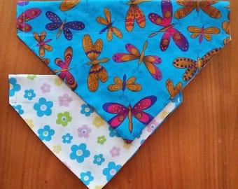 Reversible Dog Bandana - Butterflies/flowers