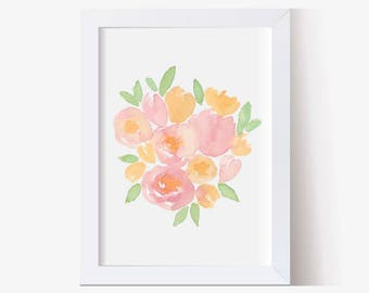 Watercolor Painting, Watercolor Picture Peach and Pink Flowers Art Print, Watercolor Flower Art Print, Floral Pictures (5x7, 8x10 11x14)