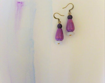 Summer Earrings Lightweight Earrings Purple Earrings Wood Earrings