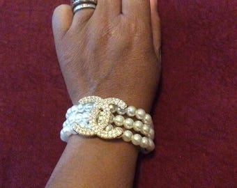 3 Row Faux Pearl Bracelet