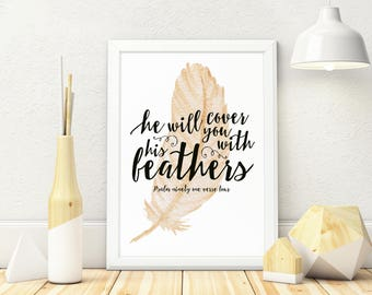 Psalm 91:4 Digital Download, Printable, Bible Verse, Wall Art, Calligraphy