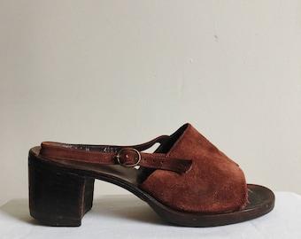 Vintage 70s Maroon Suede Block Heel Sandals - Women's 7.5