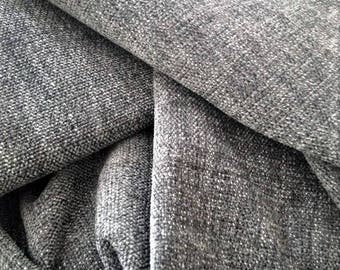 """Grey Upholstery Fabric, Weave Anthracite Material, Width 57"""", Charcoal Grey Fabric By The Yard"""