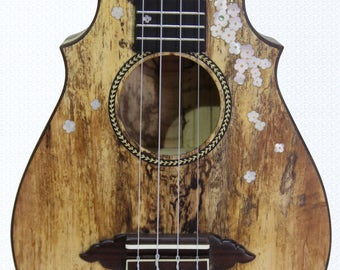 Kaytro - Ukulele 4 Strings Handmade - Flower Inlaid - Solidwood Concert Spalt Maple 2832