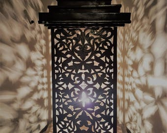 EXOTIC MOROCCAN LIGHT Beautiful Silver Handmade Vintage Metal Moroccan Lamp of table with Intricate Cut Out Designs