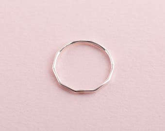 Simple handmade hammered sterling silver 925 band stacking ring