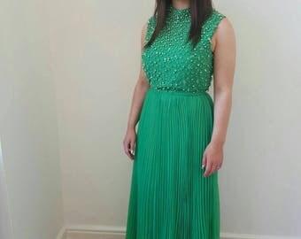 Prom dress ; beautiful green pearl beaded flare maxi dress.