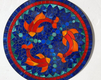 Goldfish Stained Glass Mosaic Lazy Susan