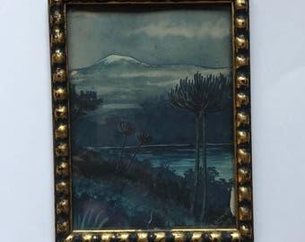 Vintage Blue Watercolor Landscape Gesso Gilt Frame - E. Bernott- 1919