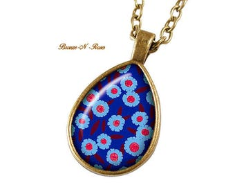 Flowers blue cabochon necklace bronze gift