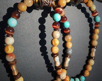 Blue and brown beaded bracelet set