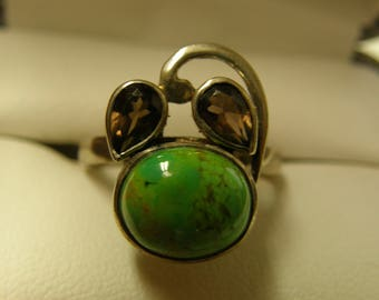 Multi Gem Sterling Silver Ring- Size 8