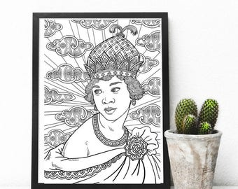 african goddess adult colouring page printable coloring pages zen doodle art queen nzingha