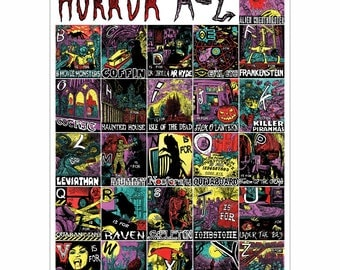Classic Horror A to Z Graphic Art Poster UK size A2