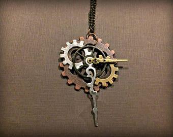 Steampunk Gear Necklace, Handmade Steampunk Pendant Necklace, Steampunk Necklace