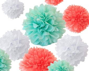 Set of 18 Mixed Coral Mint Green White DIY Tissue Paper Pom Poms Flower Ball Baby Shower Wedding Engagement Birthday Party Decoration