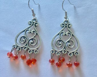 Silver Red Chandelier Dangly Earrings with Swarovski Crystals On Sterling Silver Ear wires.