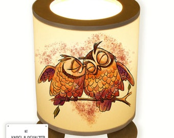 Table lamp fell in love with owls on branch OWL couple TL059