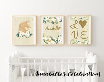 Nursery Prints - Unicorn Gold Glitter Baby Decor / Girls Room Personalized  ( Great for New Born Baby Gift  or  Mothers Day Gift )