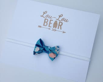Baby bow headband, Baby bows, Blue Floral, Baby headband, Baby headbands and bows, Baby headband bows, Baby head bands, Baby accessory