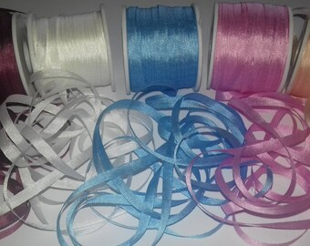4mm Silk Ribbon 25 Metres Assorted Colours