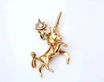 14k solid gold Unicorn pendant charm with aquamarine stone and northern star