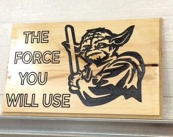 STAR WARS YODA Engraved Wood Sign