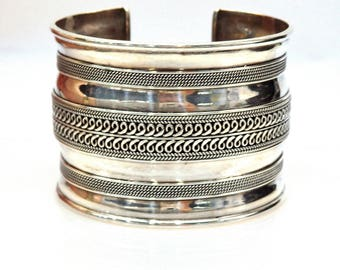 Sterling Silver Etched Design Wide Cuff Bracelet