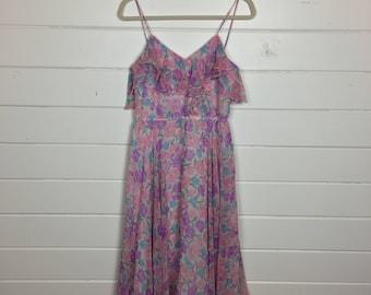 Vintage 1970s Floral Chiffon Sundress / Ruffled Neckline / Spaghetti Straps / Made by Kappi /